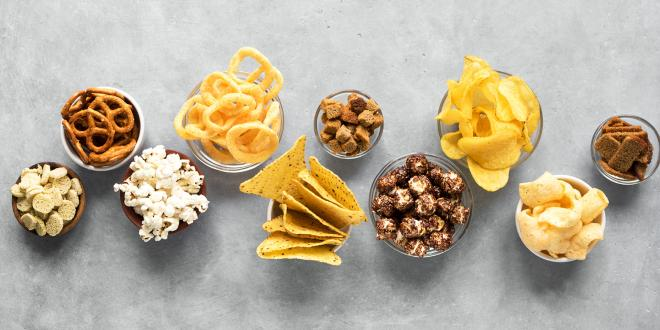bowls of carb-heavy snacks