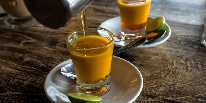two mugs of Jamu, a traditional Indonesian tonix for immunity